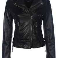 Classic Oil Black Leather Biker Jacket - Boda Skins