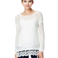 Lace Bottom Sweater -