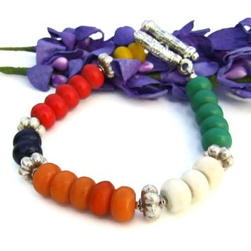 African Bone Color Block Handmade Bracelet Unique African Jewelry OOAK