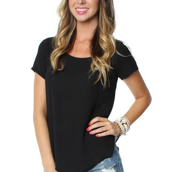 Short Sleeve Blouse Black