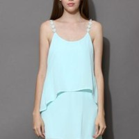 Mint tiered chiffon dress