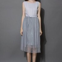Gray pleated tulle dress