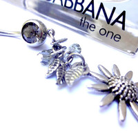 Silver and Black Swarovski Crystal Sunflower Belly Button Ring, Sexy Dangle Navel Ring