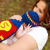 Custom Superman Hat & Cape Set by OnHeathersHook on Etsy