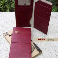 Travel long Passport holder Card Air Ticket Case Wallet -  Red