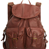Washed Faux Leather Backpack - Brown