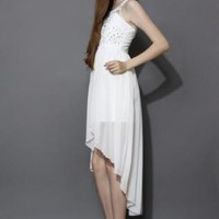 White beaded chiffon dress