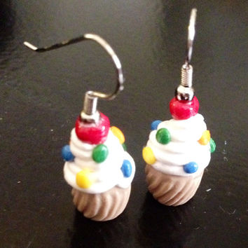 Vanilla Confetti cupcake earrings made with Sculpey clay