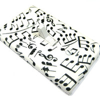 Black and White Music Notes Light Switch Cover by ModernSwitch
