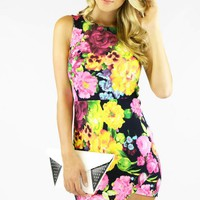 Asymmetrical Floral Bodycon Dress