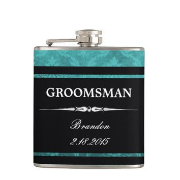 Teal Damask Black Groomsman Wedding Flask