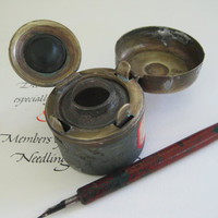 have inkwell will travel ~ an adorable antique portable inkwell