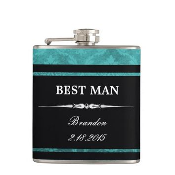 Teal Damask Black Best Man Wedding Flask
