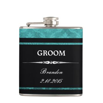 Teal Damask Black GROOM Wedding Flask