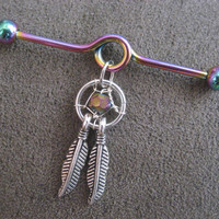 Rainbow Dream Catcher Industrial Piercing Barbell Dreamcatcher Feather Charm Dangle 14 Gauge 14g G Bar