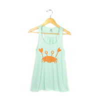 Happy Crab - Hand STENCILED Deep Scoop Neck Racerback Women's Swing Tank Top in Mint and Orange - XS S M L XL 2XL