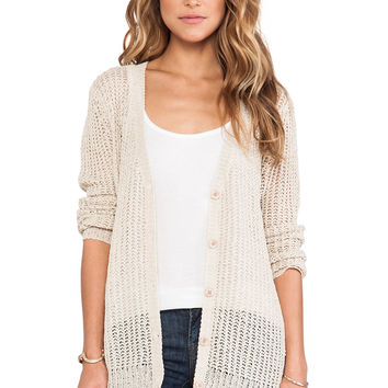 Michael Stars Long Sleeve Button Down Cardigan in Beige