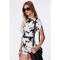 Missguided - Elka Monochrome Open Back Playsuit