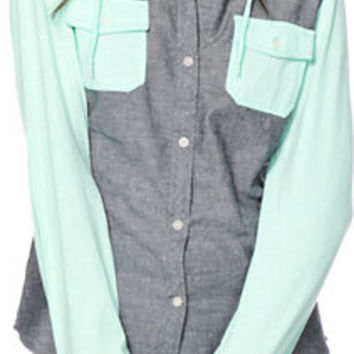 Empyre Exeter Chambray   Mint Hooded Shirt