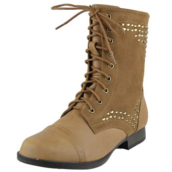 Womens Ankle Boots Rhinestone Studded Combat Lace Up Shoes Cognac Size 5.5-10