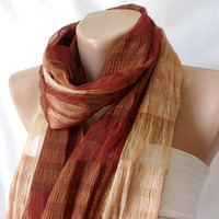 Hand Dyed Brown Redish Silk and Cotton Scarf with by Periay