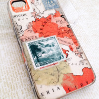 European Traveler iPhone 4 Case Vintage Map &amp; Stamp by TracyReehal