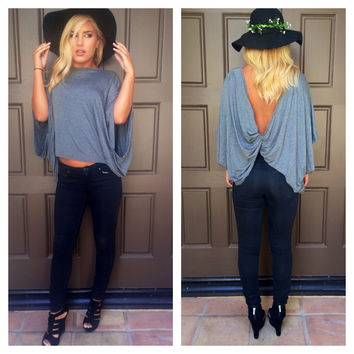 Knot Your Girl Draped Top  GREY
