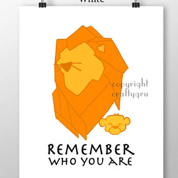 Lion King Print Disney Movie Print Remember Who You Are Quote Simba Mufasa Minimalist Wall Art Children Wall Art Nursery Decor