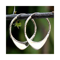 Sterling Silver 'Silver Boomerang' Hoop Earrings (Thailand)