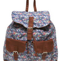 Faux Leather Trim Floral Print Backpack | Wet Seal