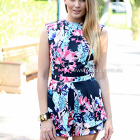 MOMENT TOO SOON PLAYSUIT , DRESSES, TOPS, BOTTOMS, JACKETS & JUMPERS, ACCESSORIES, 50% OFF , PRE ORDER, NEW ARRIVALS, PLAYSUIT, COLOUR, GIFT VOUCHER,,Blue,Print,JUMPSUIT,SLEEVELESS,MINI Australia, Queensland, Brisbane