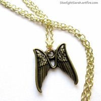 Angel Wings Necklace with Pair of Dark Gold Angel Wings and Gold Chain