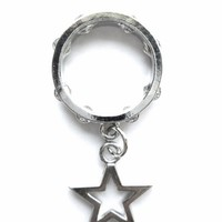 Silver Metal Star Ring with Cut-Out Center Star Charm, Size 6 1/2