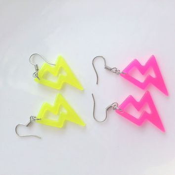 Japanese Harajuku Shibuya inspired Neon Colour ThunderBlot Earrings. Simple cute everyday wear Ear Accessory
