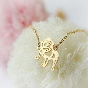 Bulldog Necklace / choose your color, gold and silver