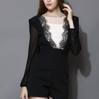 Mesh Paneled Lace Trimmed Playsuit Black