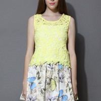 Yellow Crochet Top and Butterfly Skirt Set Multi
