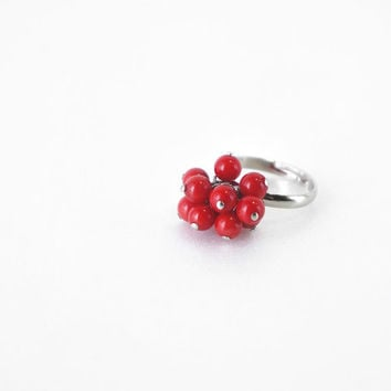 Red Coral Stone Ring, Genuine Coral Cluster Adjustable Ring, Coral Jewelry