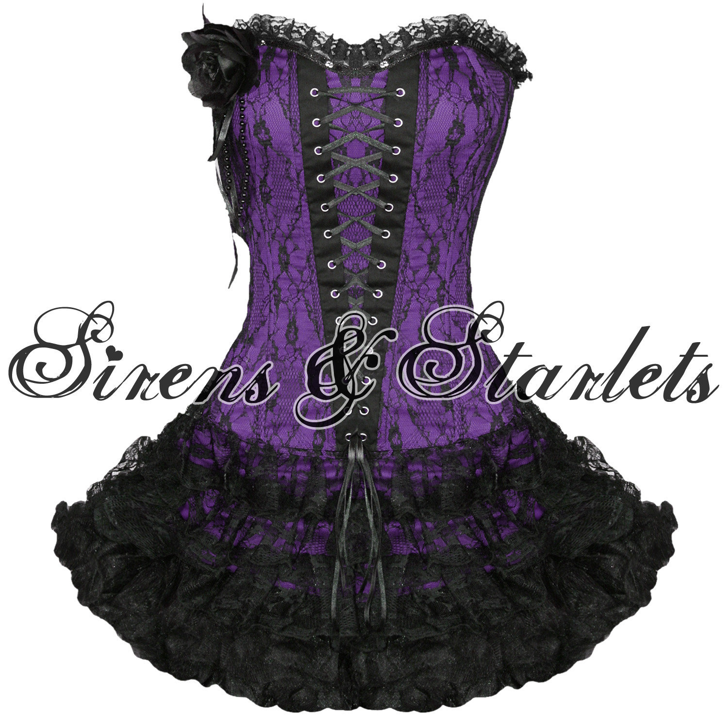 LADIES WOMENS NEW PURPLE GOTHIC EMO BURLESQUE CORSET LACE PROM PARTY MINI DRESS | eBay