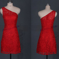 2014 new short red lace prom dresses,simple chinese cheongsam homecoming gowns,chic one shoulder wedding dresse.