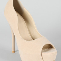 Sylvia-1 Velvet Peep Toe Platform Pump
