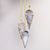 Agate Arrowhead Necklace in Gold by Black Bones Jewellery
