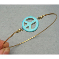 Turquoise Peace Bangle Bracelet by turquoisecity on Etsy