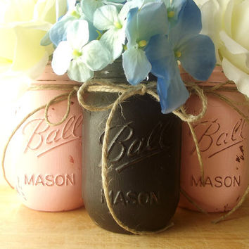 Pink and Black Painted Mason Jars  Rustic  Style Painted