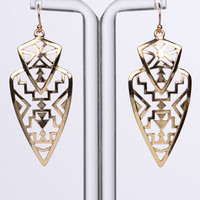 Aztec Shield Earrings, Gold
