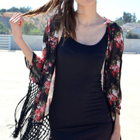 Rose Fringe Kimono | Shop Civilized