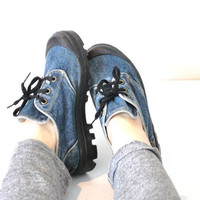 size 7 denim chunky platform sneakers / 90s grunge shoes