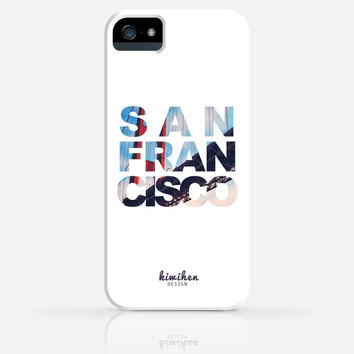 San Francisco Golden Gate Bridge Text iPhone 4 Case, iPhone 4s Case, iPhone 5 Case, iPhone 5s Case, iPhone Hard Plastic Case