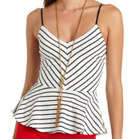 STRAPPY STRIPED PEPLUM TOP