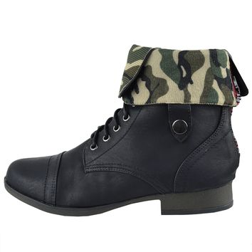 Womens Ankle Boots Camouflage Lining Lace Up Combat Shoes Black Size 5.5-10